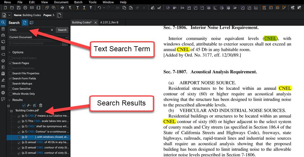 Search-CNEL-term-text-Bluebeam-Revu-TAVCO