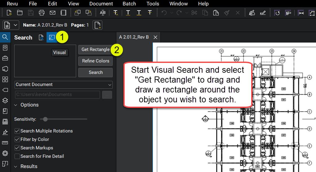 Start-visual-search-construction-plan-Blulebeam-Revu-TAVCO