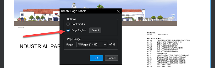Create page labes in Bluebeam - Page Region