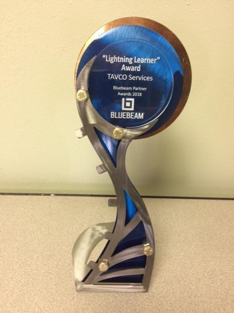 Bluebeam Award - Lightning Learner - TAVCO - XCON 2018