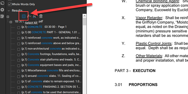 Select All Text - after search result in Bluebeam