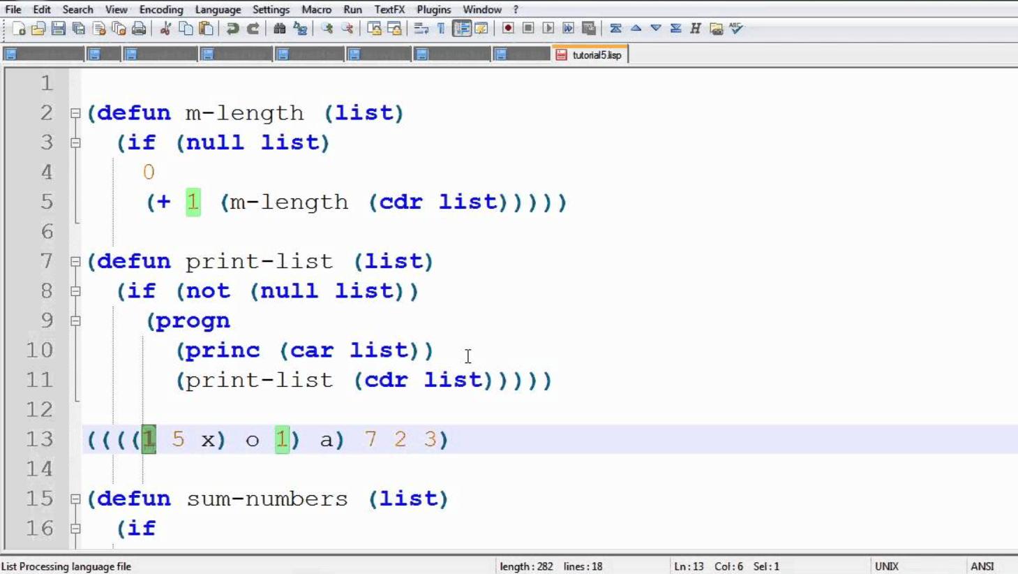 LISP Routine Sample