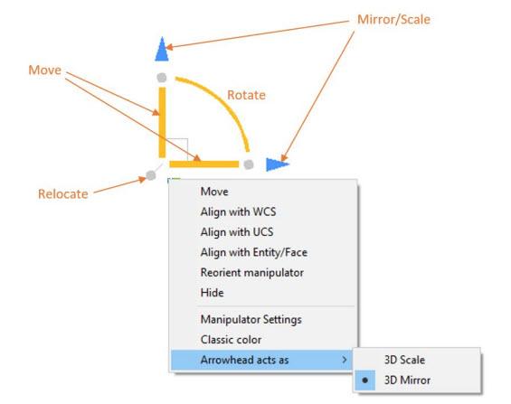 BricsCAD Manipulator Menu - Features