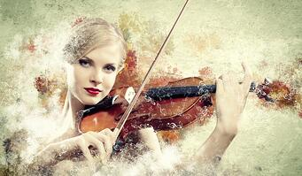 Image of beautiful female violinist playing with against colorful background