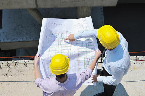Team of architects people in group  on construciton site check documents and business workflow-1