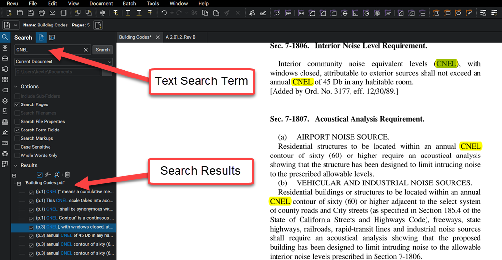 Search-CNEL-term-text-Bluebeam-Revu-TAVCO