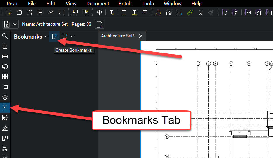 Bookmarks Tab - Create Bookmarks - Bluebeam Revu - TAVCO