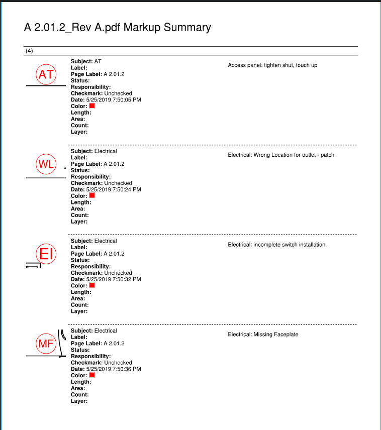 Bluebeam Markup Summary